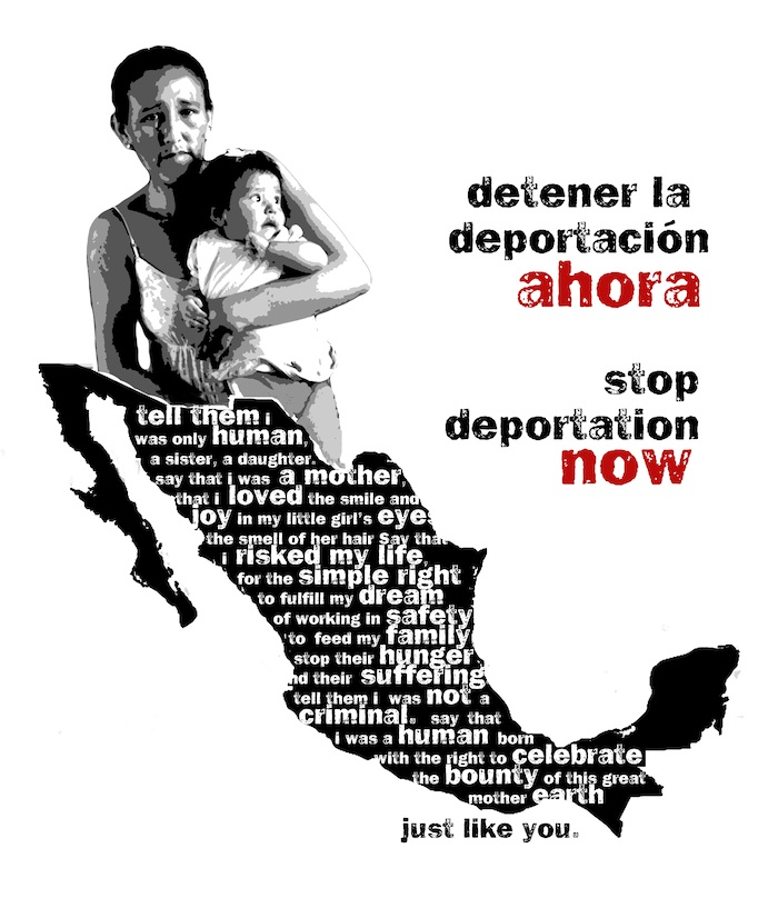 This art was intended for a T-shirt with the image and poem on the front and the stop deportation text on the back. I was inspired after 3 undocumented workers came to a graduate class and spoke to us about their experiences.