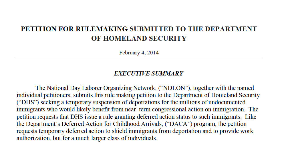 DHS Rulemaking Petition to Halt Deportations