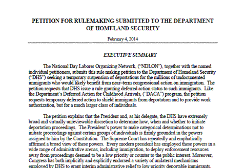 NDLON Files Formal Request to DHS to Stop Deportations