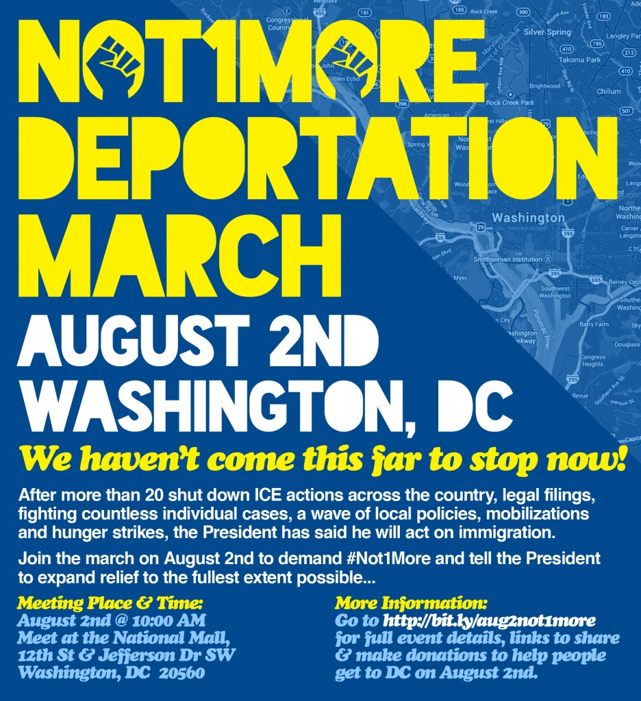 August 2nd Not1More Deportation March Flyer